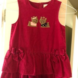 Size 5 - red cordoroy jumper- ruffles at bottom